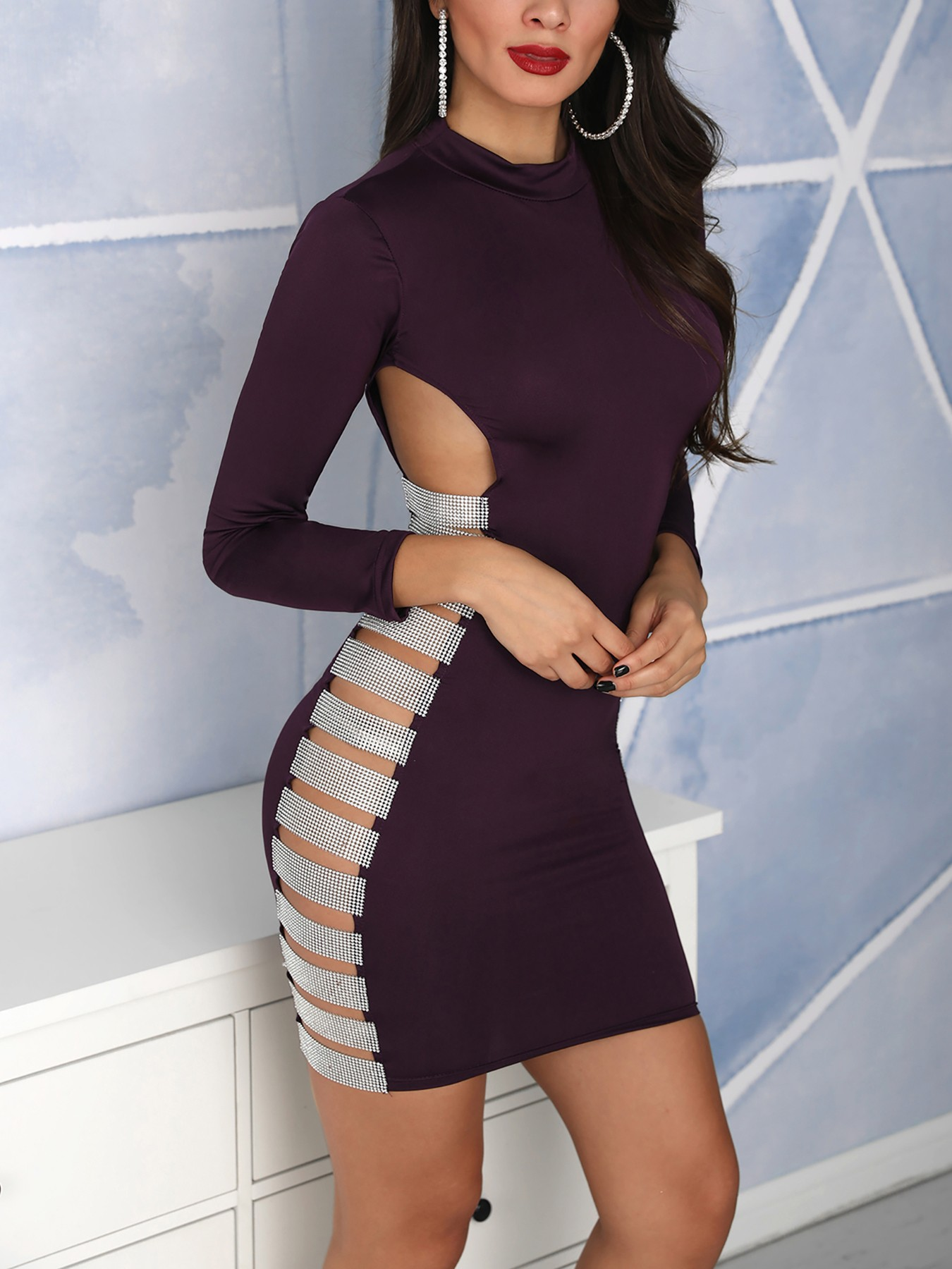 Sequin Ladder Cut Out Bodycon Dress