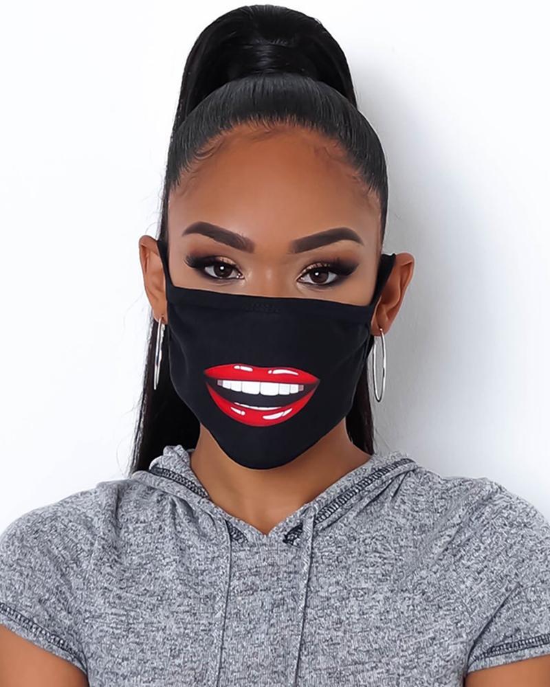 Lip Print Colorblock Breathable Mouth Mask thumbnail