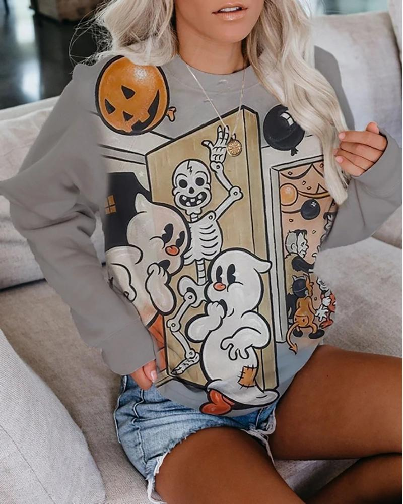 Halloween Mixed Print Long Sleeve Casual Top thumbnail