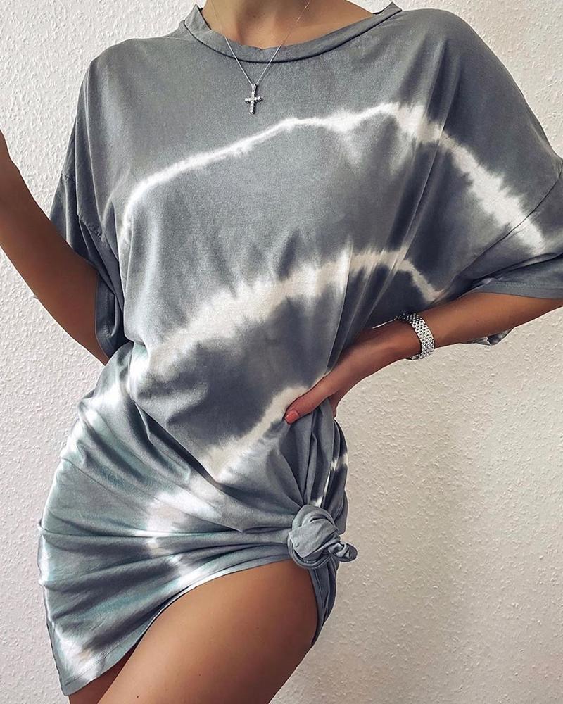 Tie Dye Print Casual T-shirt Dress thumbnail