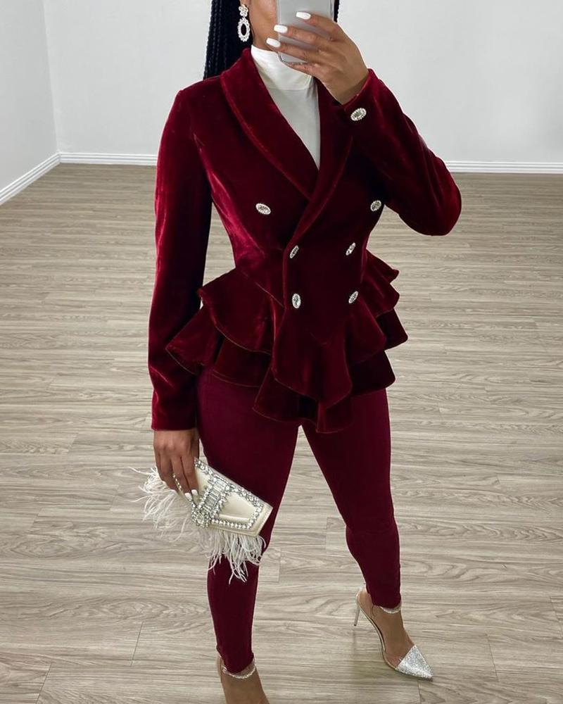 Double Breasted Velvet Ruffle Blazer by Chic Me