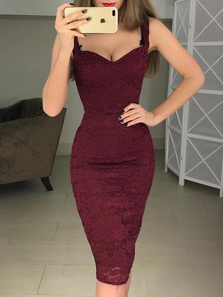 boutiquefeel / Crochet Lace Bodycon Slip Dress