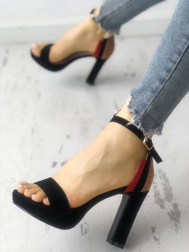 boutiquefeel / Contrast Color Single Strap Chunky Heeled Sandals