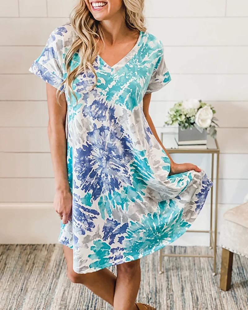 Tie Dye Print V-neck Casual Dress thumbnail