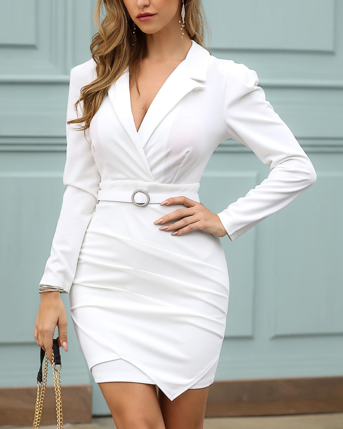 Padded Shoulder Long Sleeve Ruched Blazer Dress thumbnail