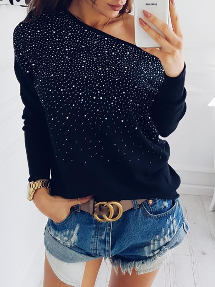 Hot Stamping Skew Neck Pullover