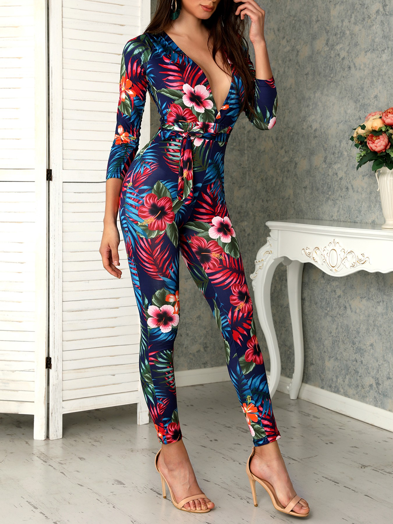 Sexy Deep V Tropical Floral Skinny Jumpsuit