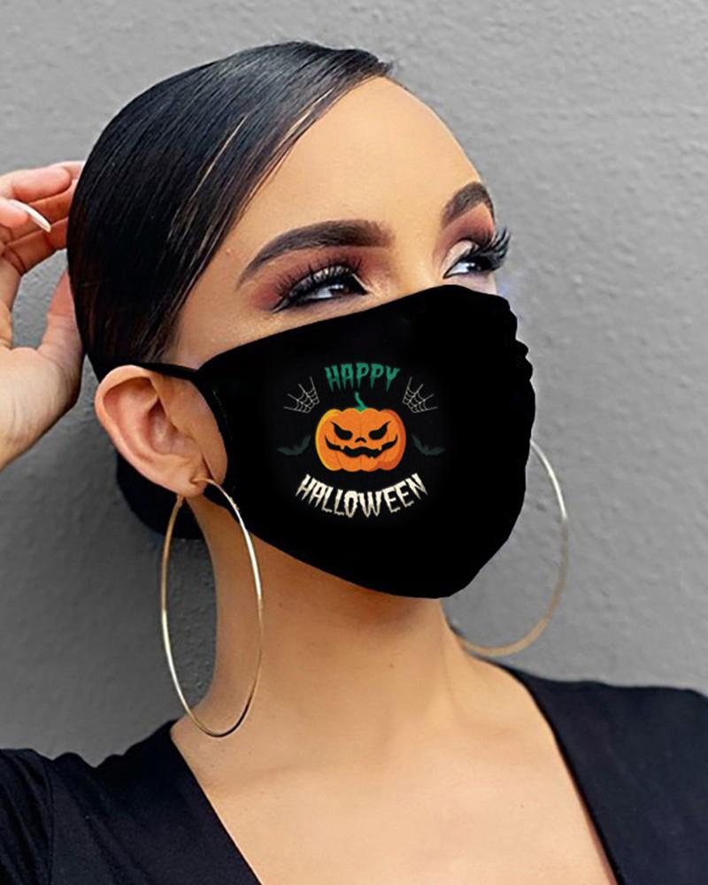 Halloween Skull / Letter / Pumpkin Print Breathable Mouth Mask thumbnail