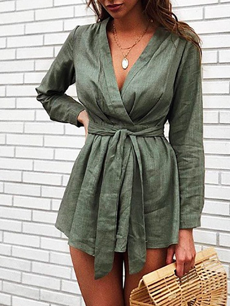 Solid Long Sleeve Belted Mini Dress