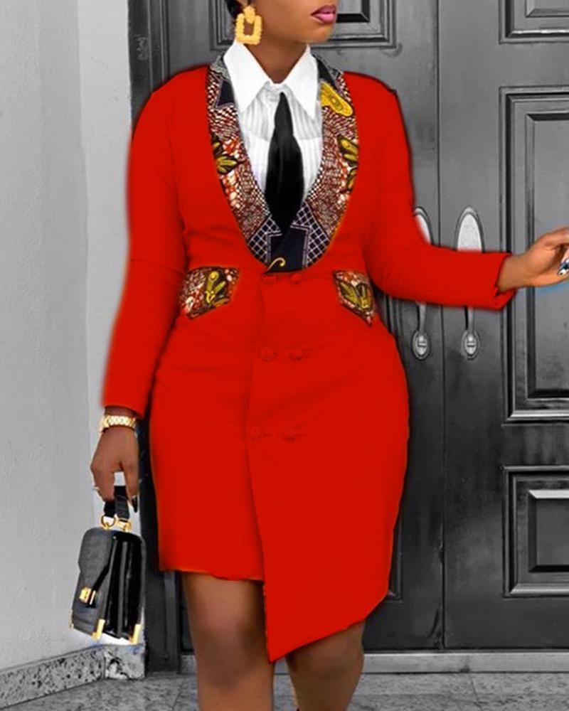 ivrose / Colorblock Button Design Long Sleeve Blazer Women Dress
