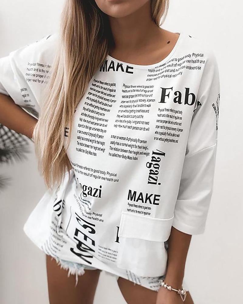 Letter Print Round Neck Casual T-shirt