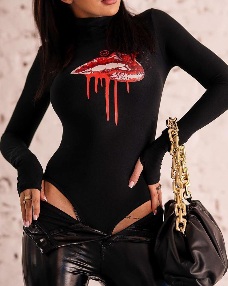 Lip Print Long Sleeve Bodysuit