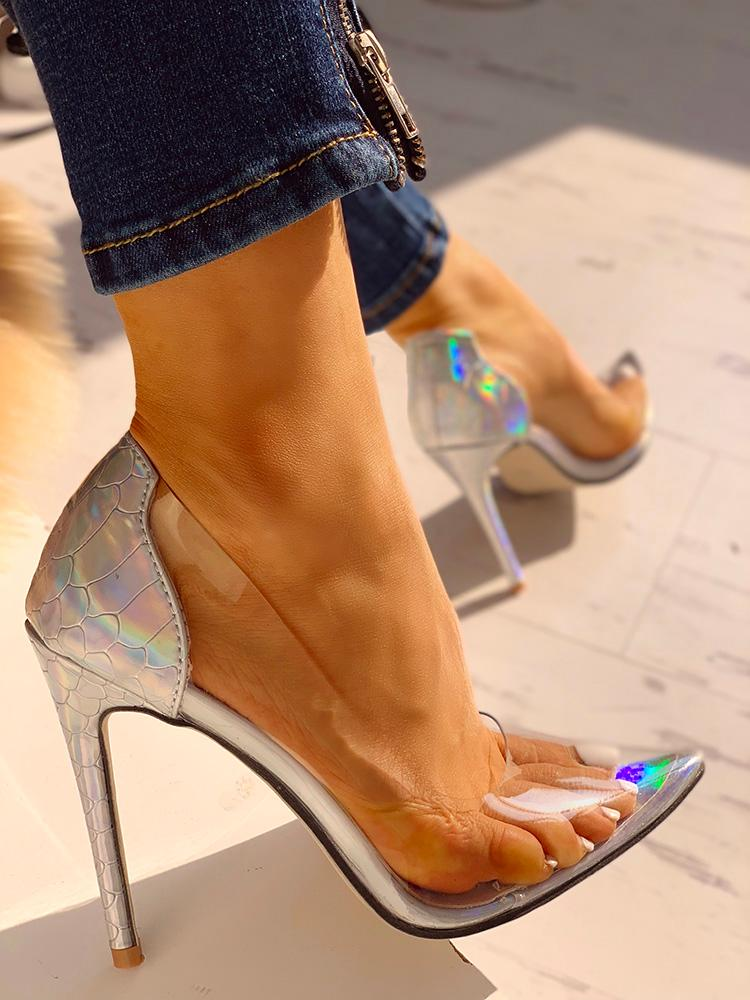 boutiquefeel / Transparent Insert Pointed Toe Colorful  Thin Heels