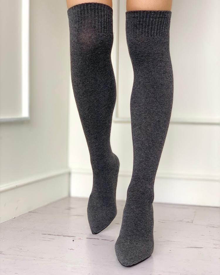 22e6cfd1cf Pointed Toe Over The Knee Thin Heeled Sock Boots