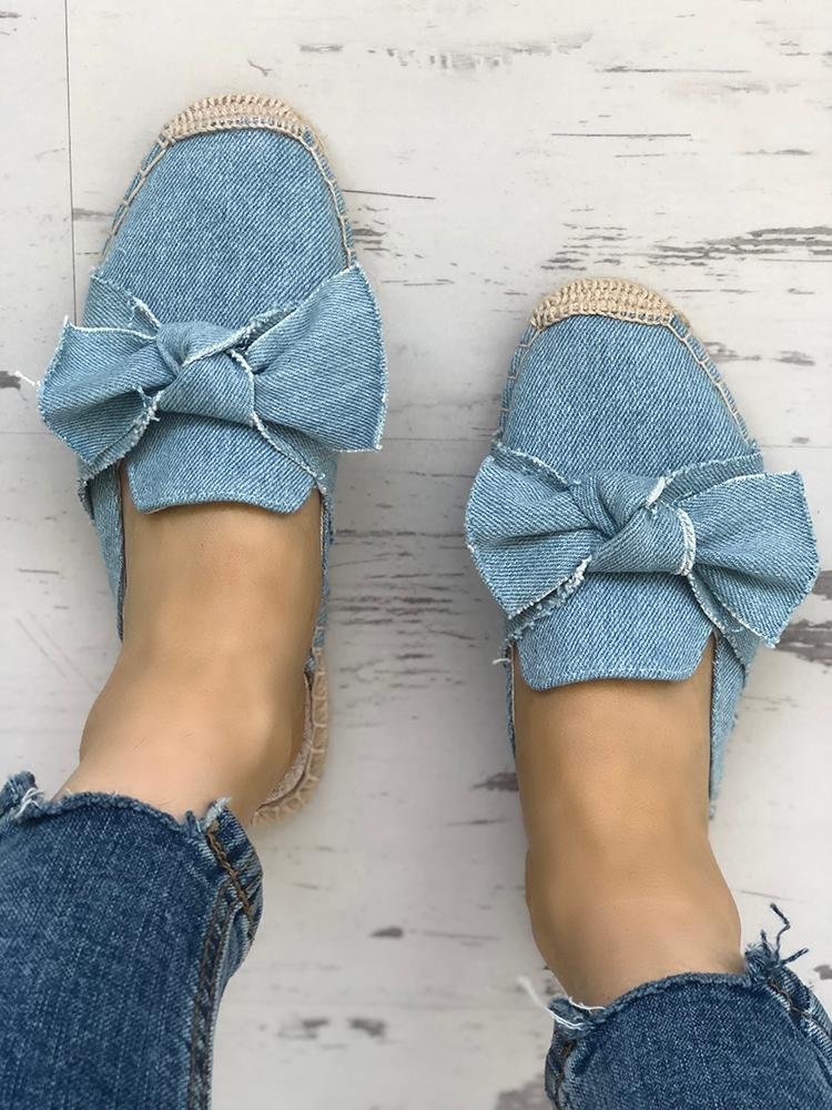 boutiquefeel / Denim Bowknot Espadrille Casual Slippers