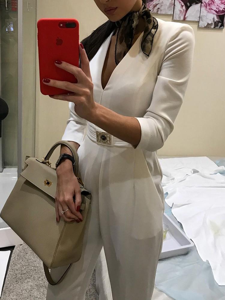 boutiquefeel / Solid V-Neck Metallic Embellished Pocket Jumpsuit