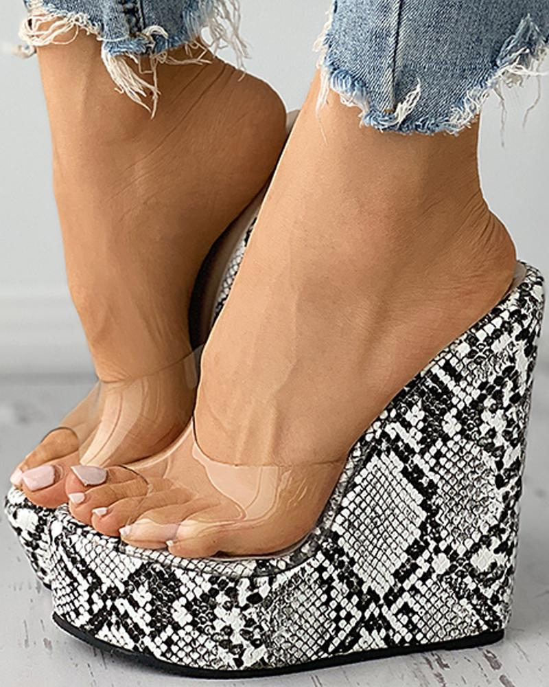 Snakeskin Print Clear Perspex Wedges Sandals