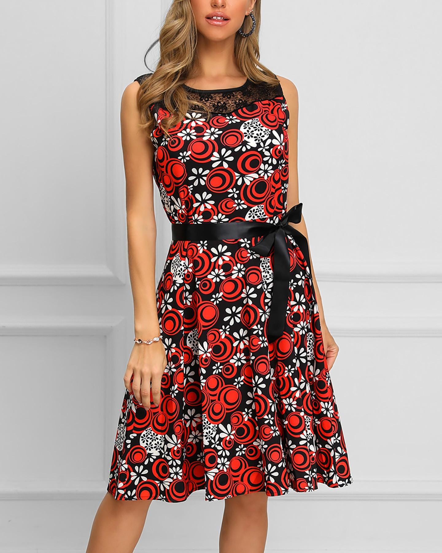 Print Sleeveless Lace Insert Pleated Dress