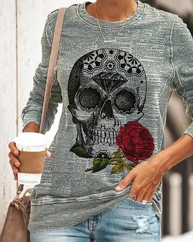 Halloween Skull Rose Print Long Sleeve Top thumbnail