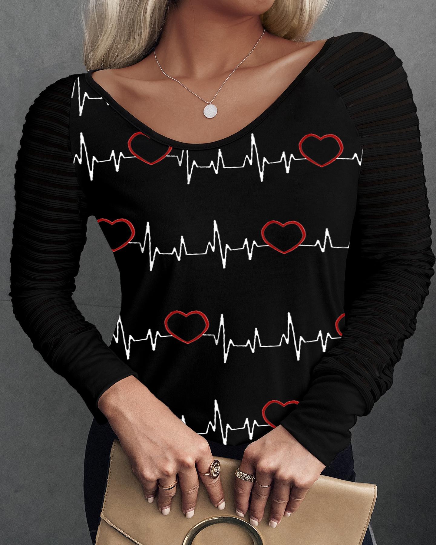 Heart Print V-Neck Long Sleeve Top