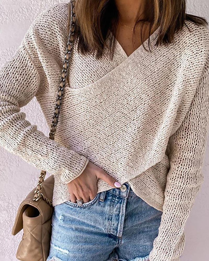Crossover-front Hollow Out Cropped Sweater thumbnail