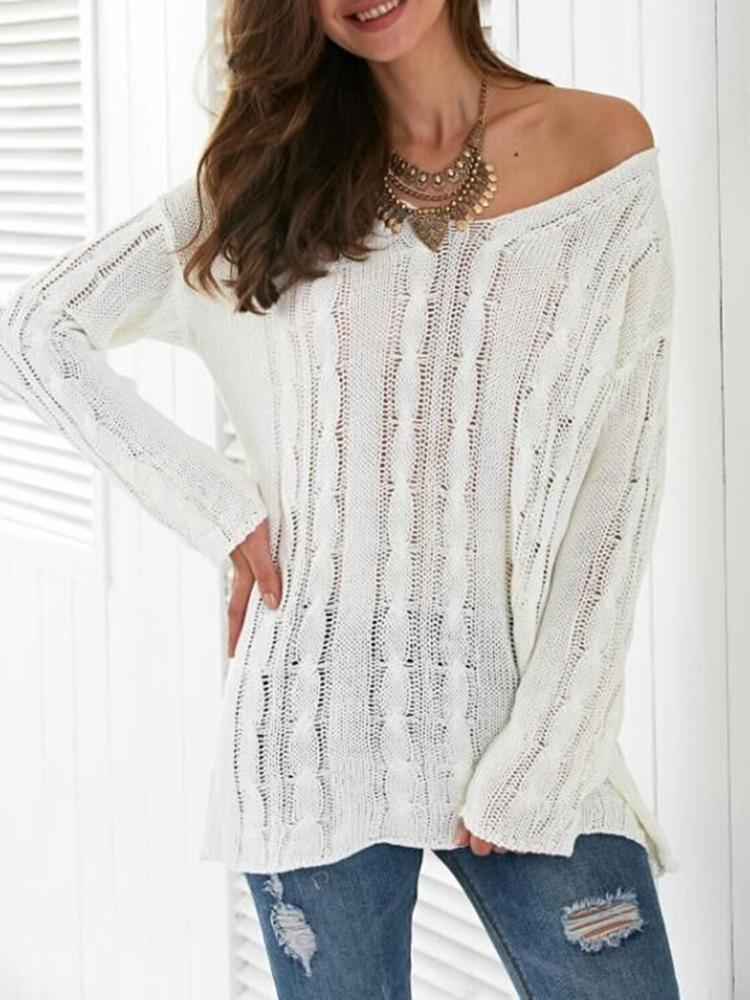 0097be512edf Secy V Neck Twist Knitted Casual Pullover Sweater Online. Discover ...