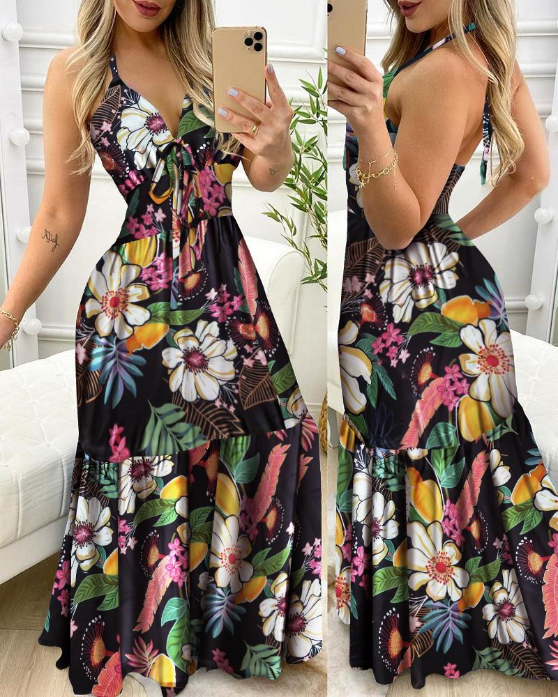 Floral Print Halter Ruffle Hem Maxi Dress, Multicolor