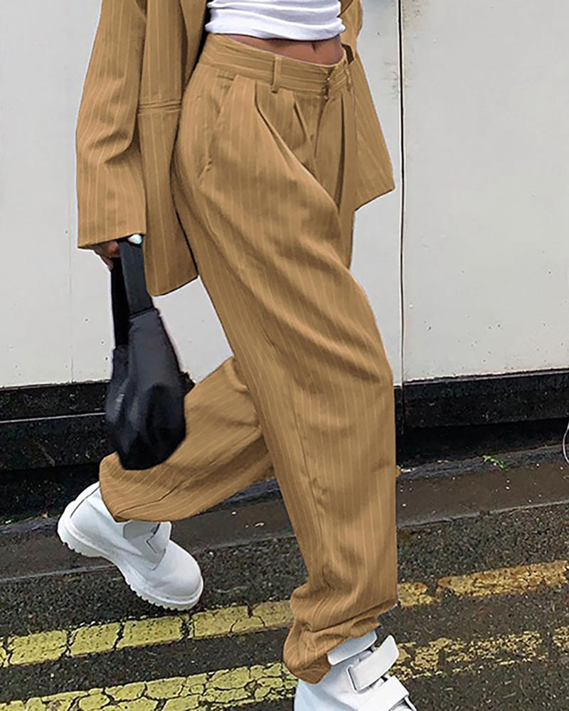 Solid Pocket Design Striped Tailored Pants thumbnail