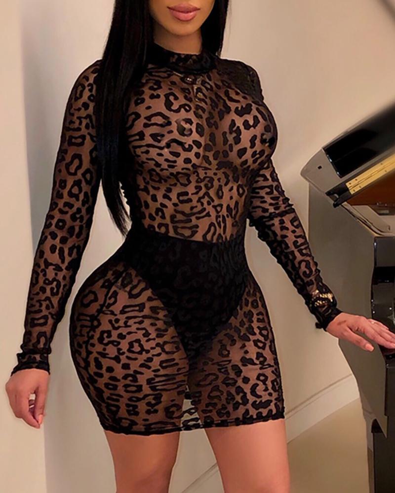 Leopard Print Long Sleeve Mock Neck Mini Dress, boutiquefeel, black  - buy with discount
