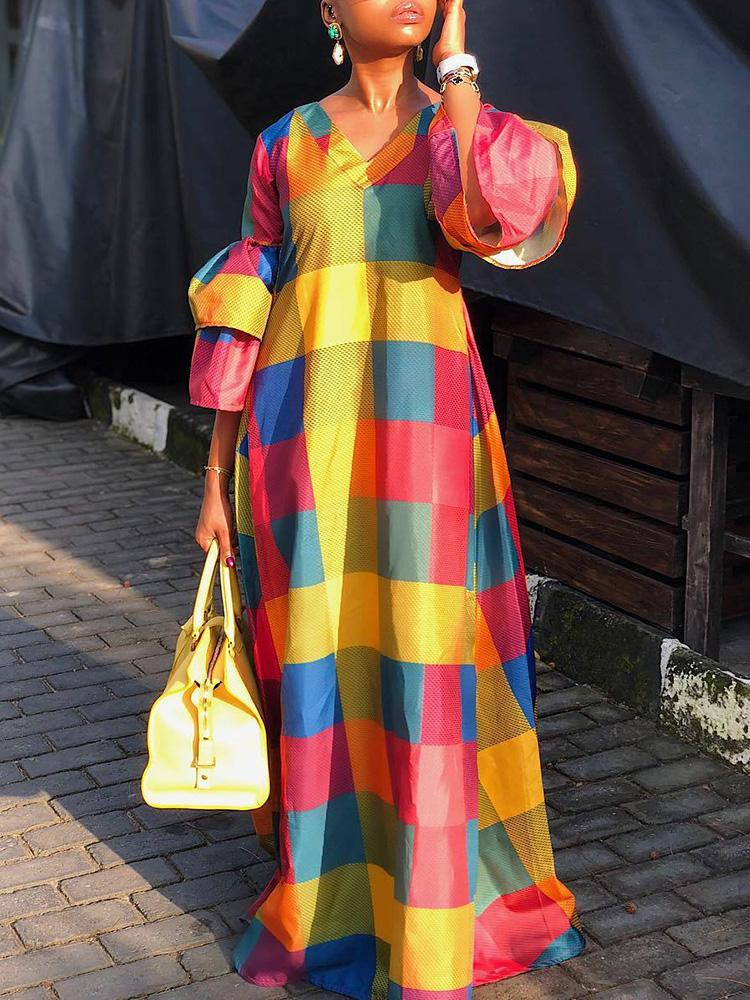 boutiquefeel / Colorful Grid Lantern Sleeve Maxi Dress