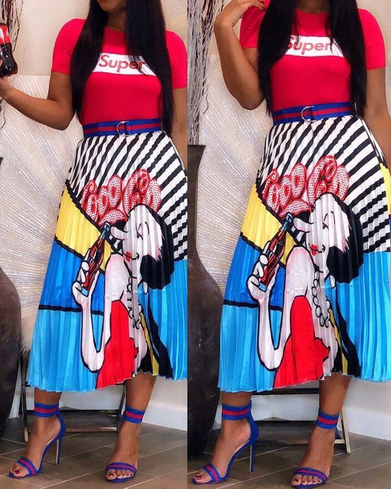 0e63f02c5d Digital Printing Cartoon Head Pleated Skirt