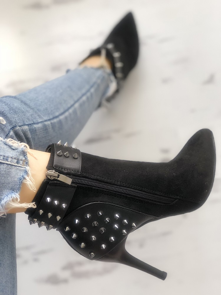 boutiquefeel / Rivet Embellished Buckled Thin Heeled Boots