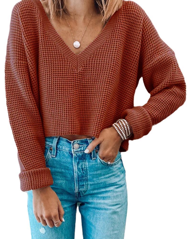 Solid Comfy V-neck Basic Knit thumbnail