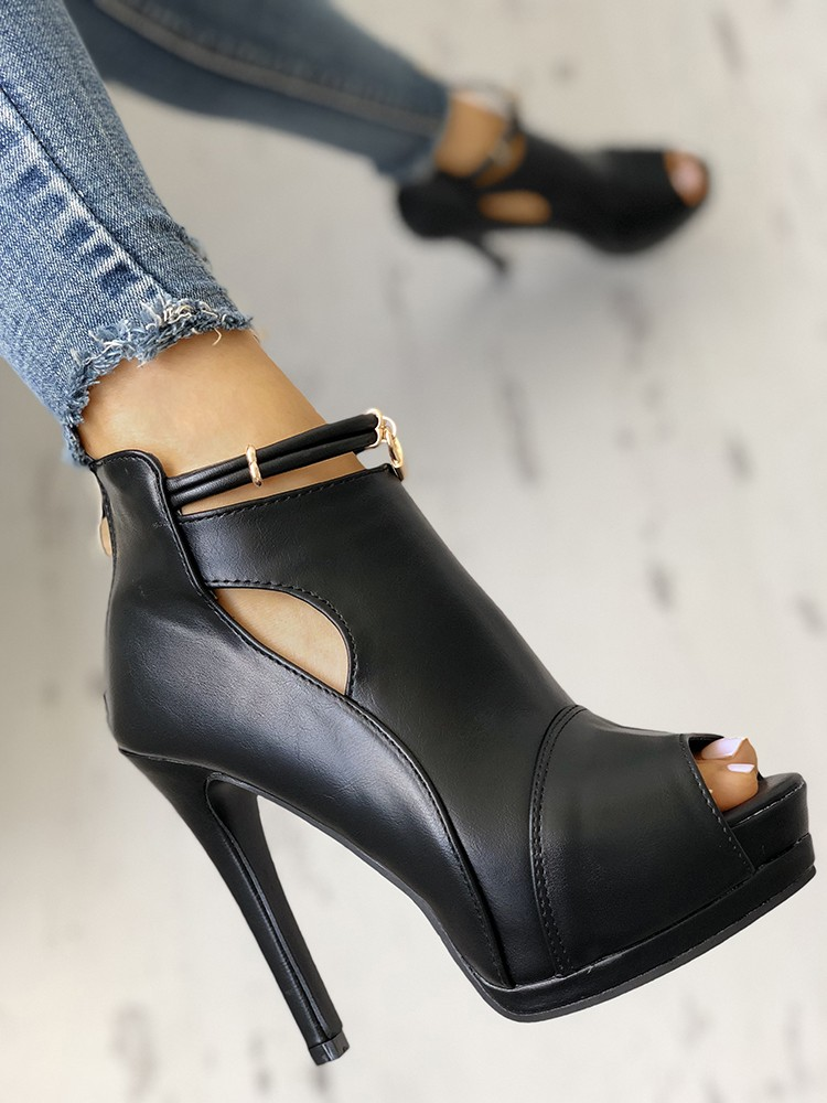 boutiquefeel / Solid Peep Toe Cutout Platform Thin Heels