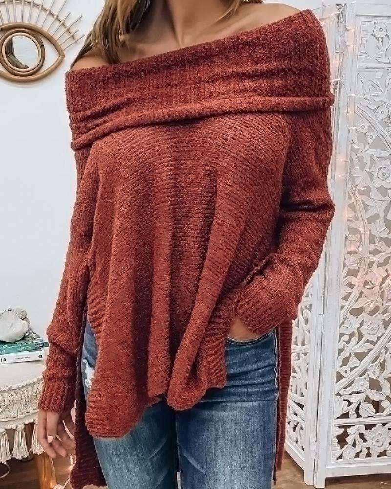 Plain Off Shoulder Long Sleeve Sweater