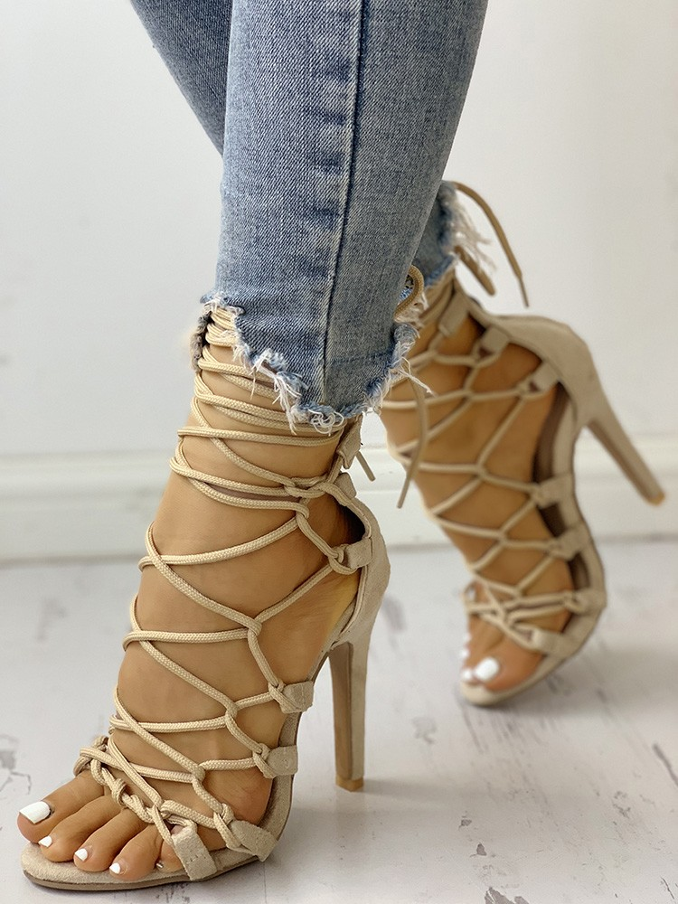 boutiquefeel / Hollow Out Lace Up Thin Heels Sandals