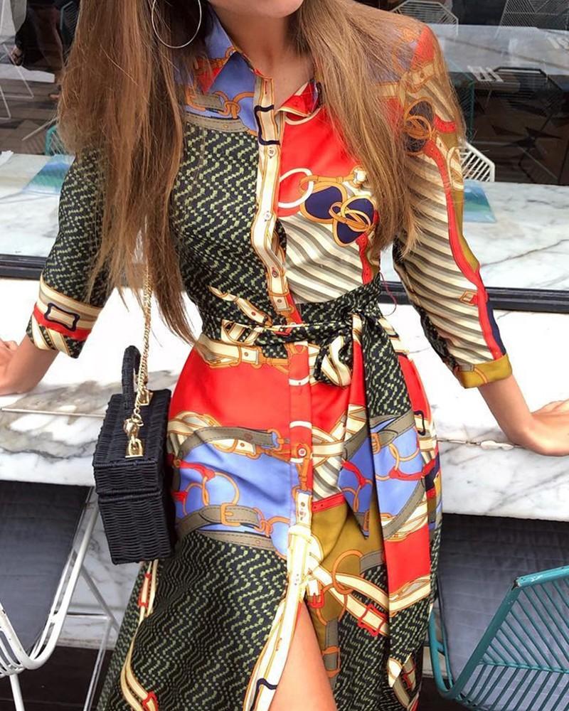 Mixed Print Button Up Shirt Dress