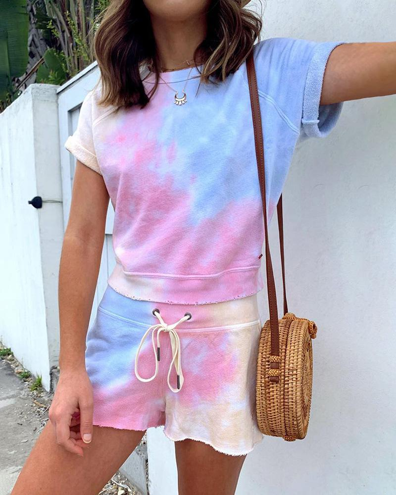 Tie Dye Print Drawstring Top & Shorts Set thumbnail