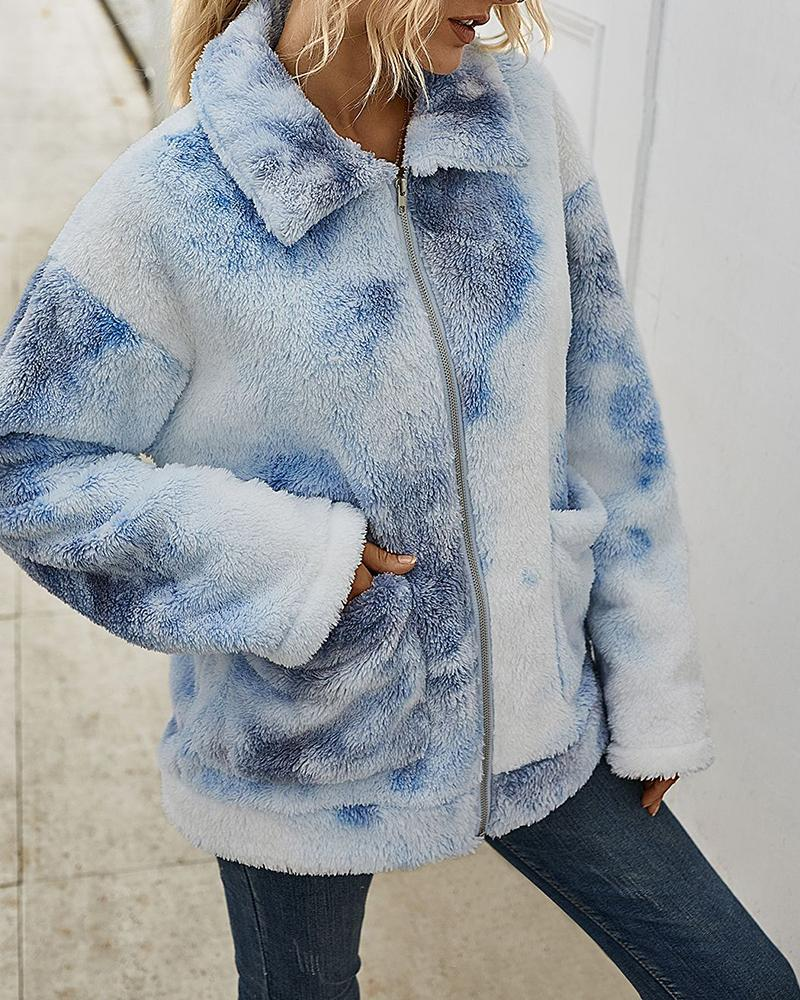 Tie Dye Print Fluffy Pockets Teddy Coat thumbnail