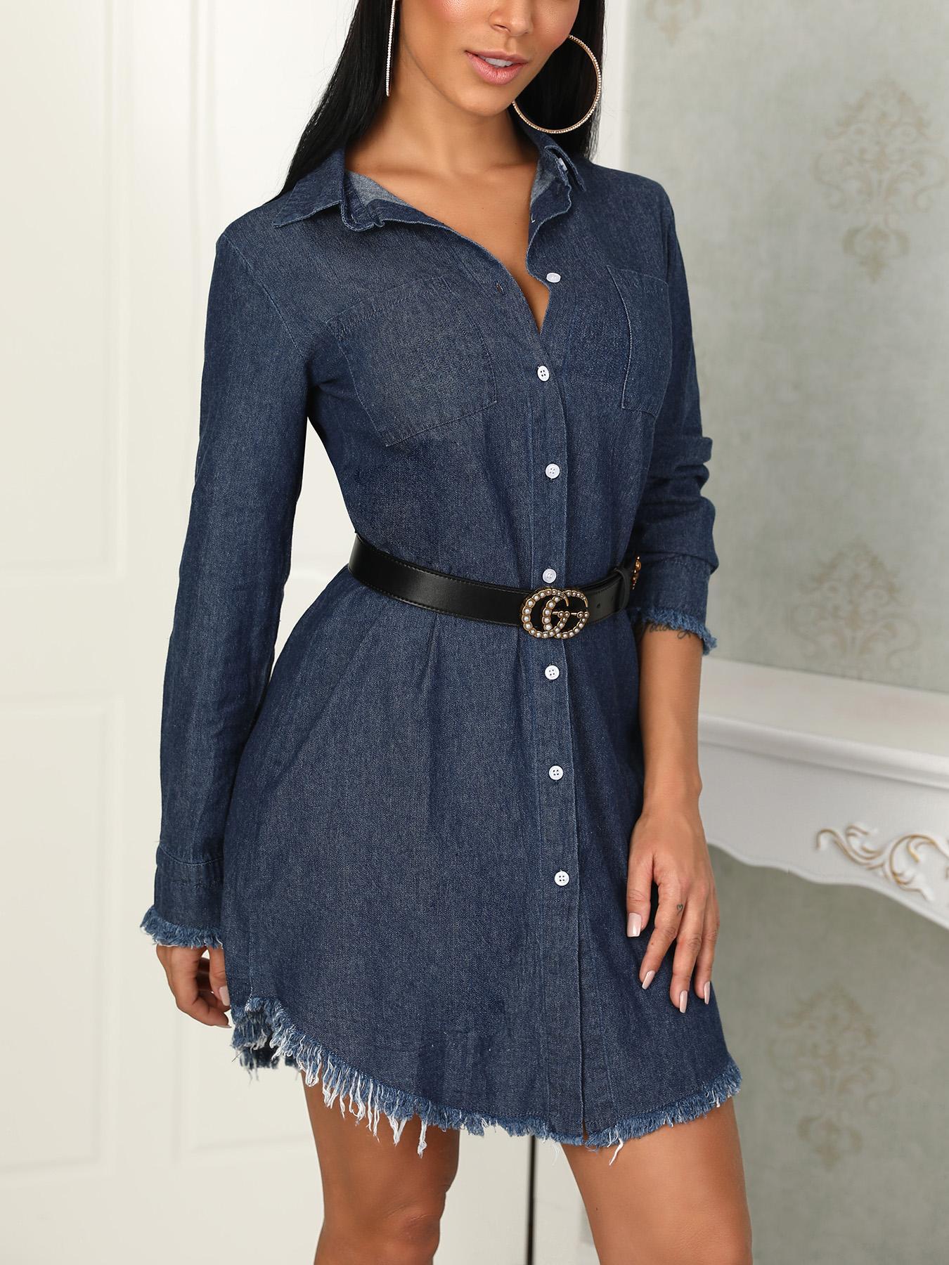 fc748d3de19a Denim Frayed Hem Long Sleeve Shirt Dress Online. Discover hottest trend  fashion at chicme.com