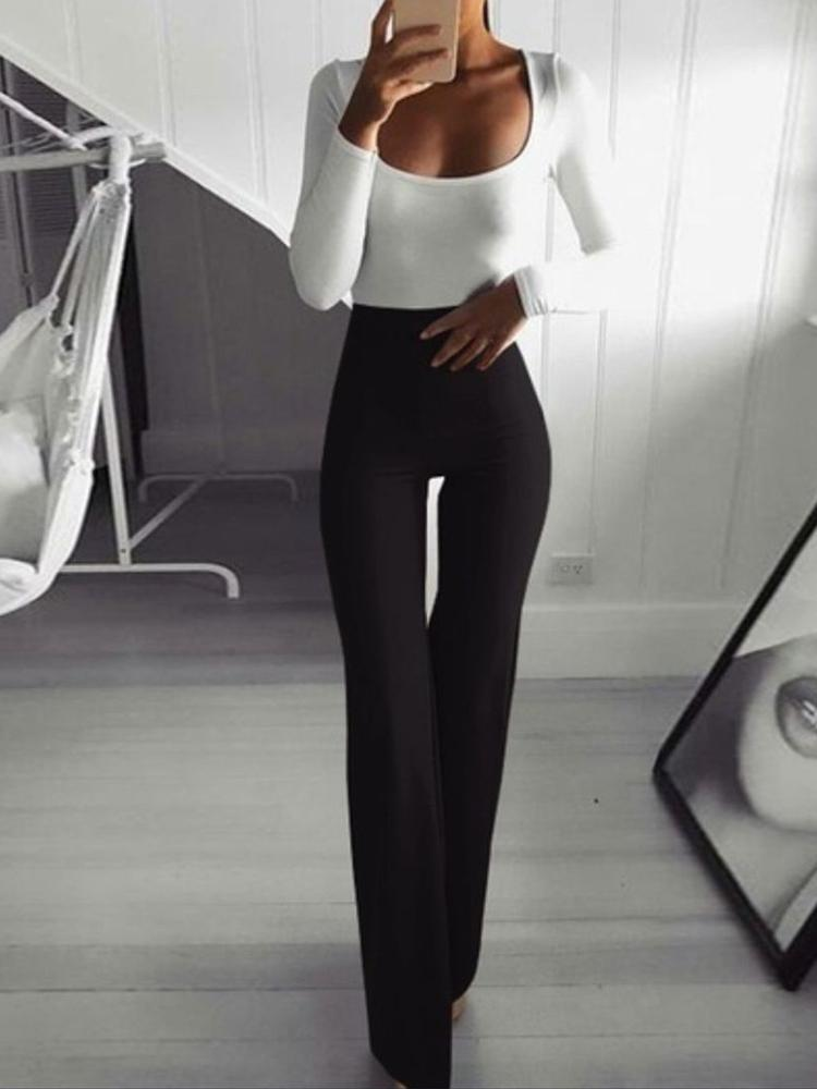 boutiquefeel / Solid High Waist Bell-Bottom Pants
