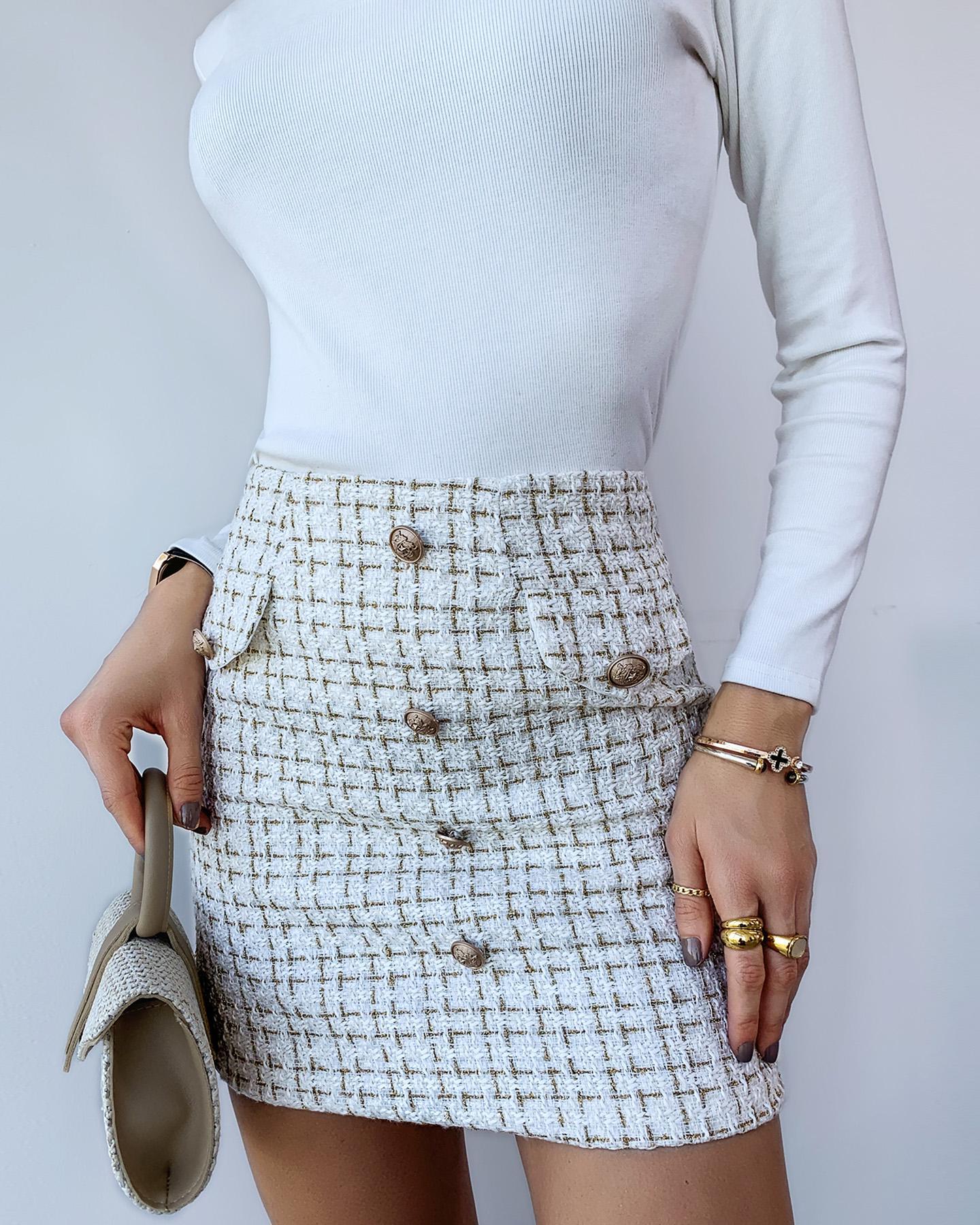 Plaid Button Design Tweed Skirt thumbnail