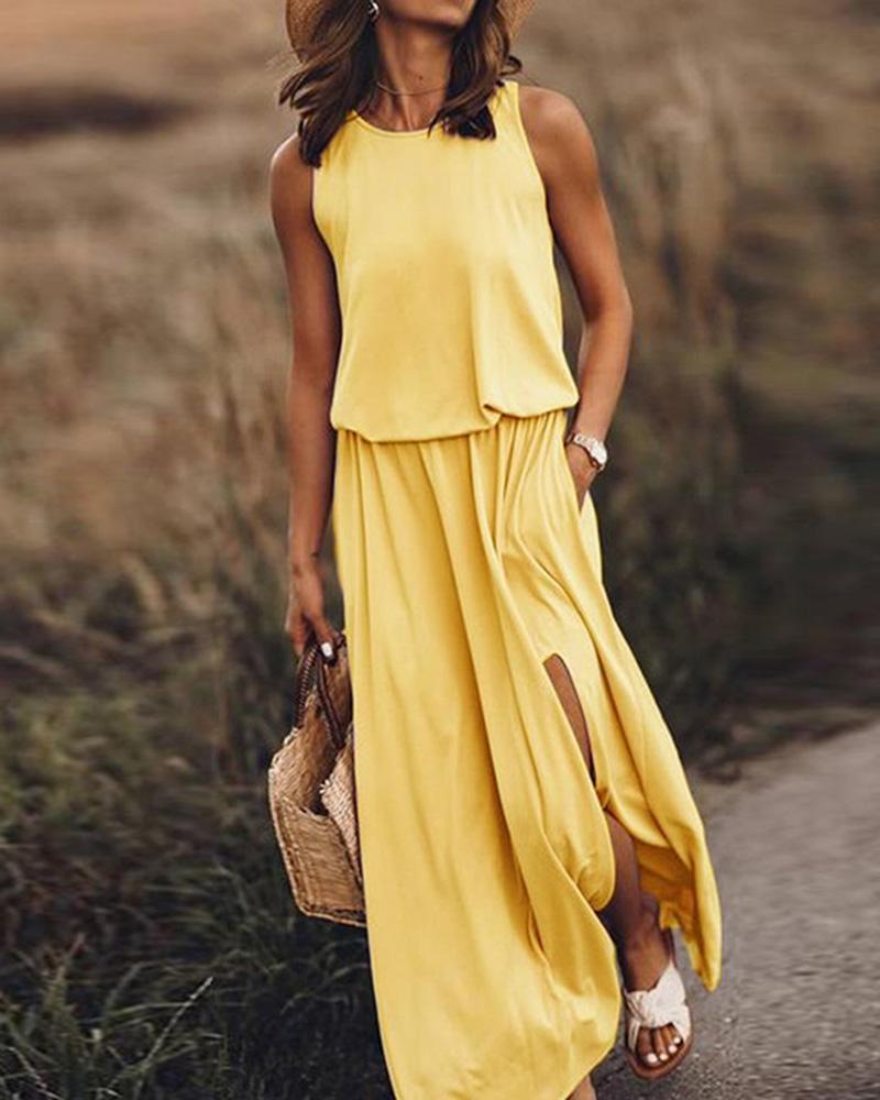 Round neck sleeveless split solid color Maxi dress thumbnail
