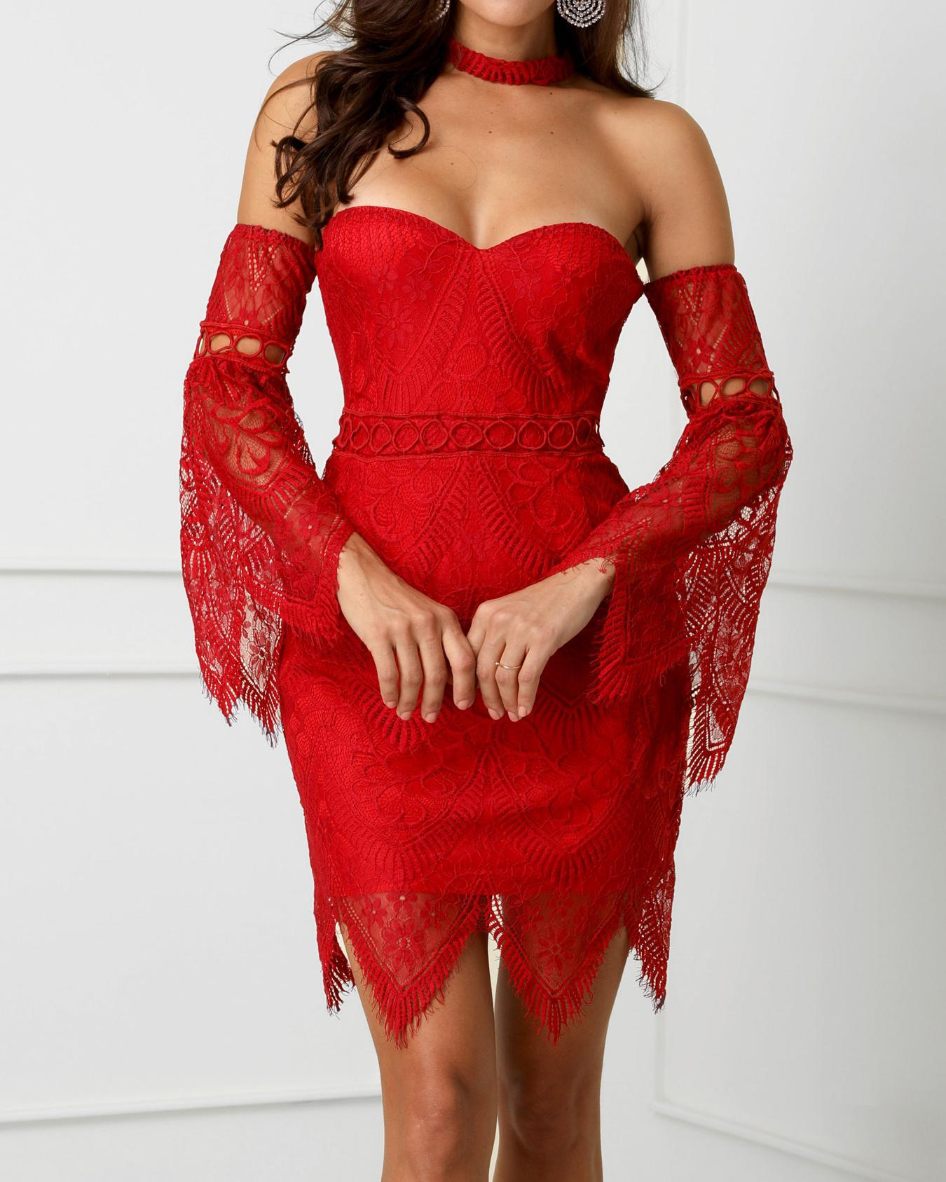 0452067c6e7 Off Shoulder Bell Sleeve Eyelash Lace Dress Online. Discover hottest trend  fashion at chicme.com