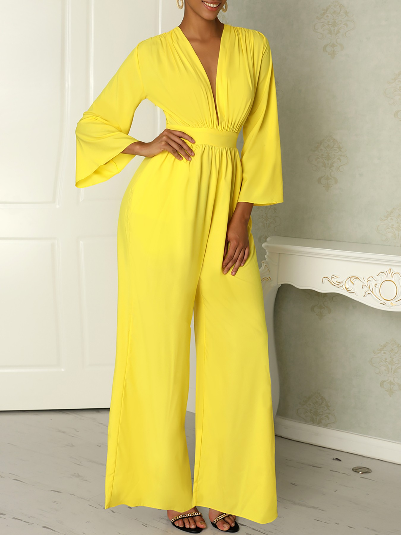 boutiquefeel / Ruched Plunge Flared Sleeve Wide Leg Jumpsuit