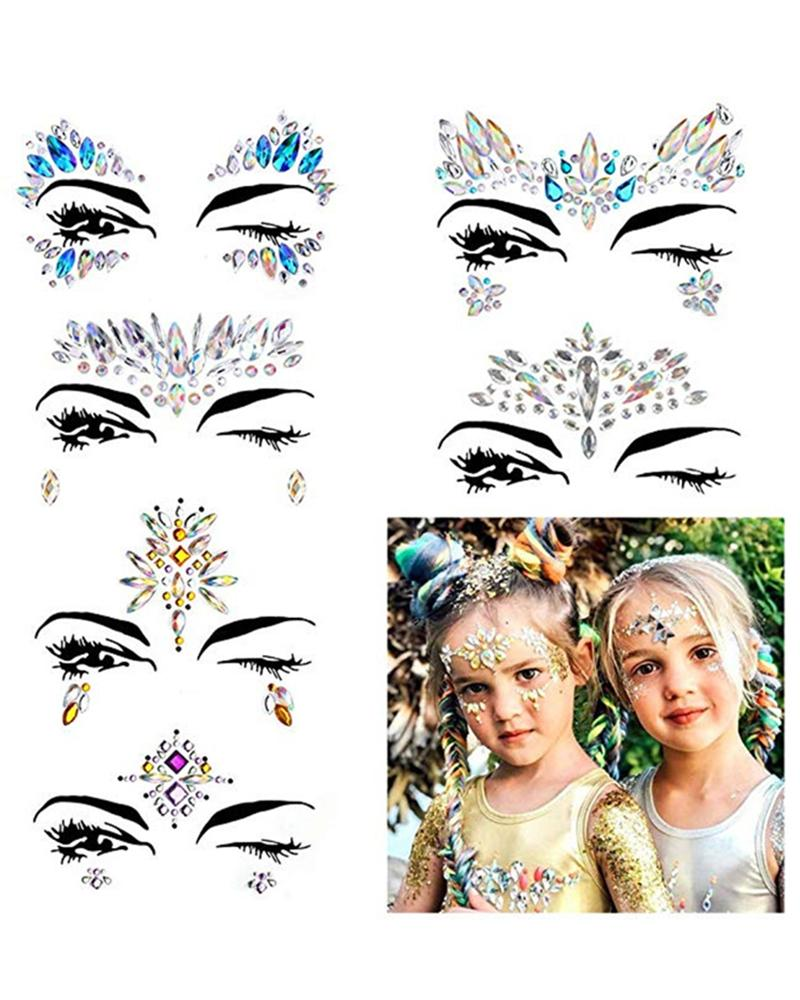 Face Gems Tattoo Stickers Acrylic Crystal Glitter Stickers thumbnail