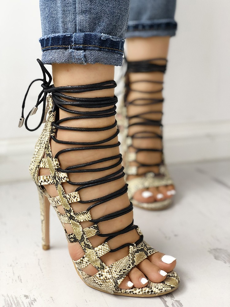 boutiquefeel / Open Toed Lace-Up Thin Heeled Sandals