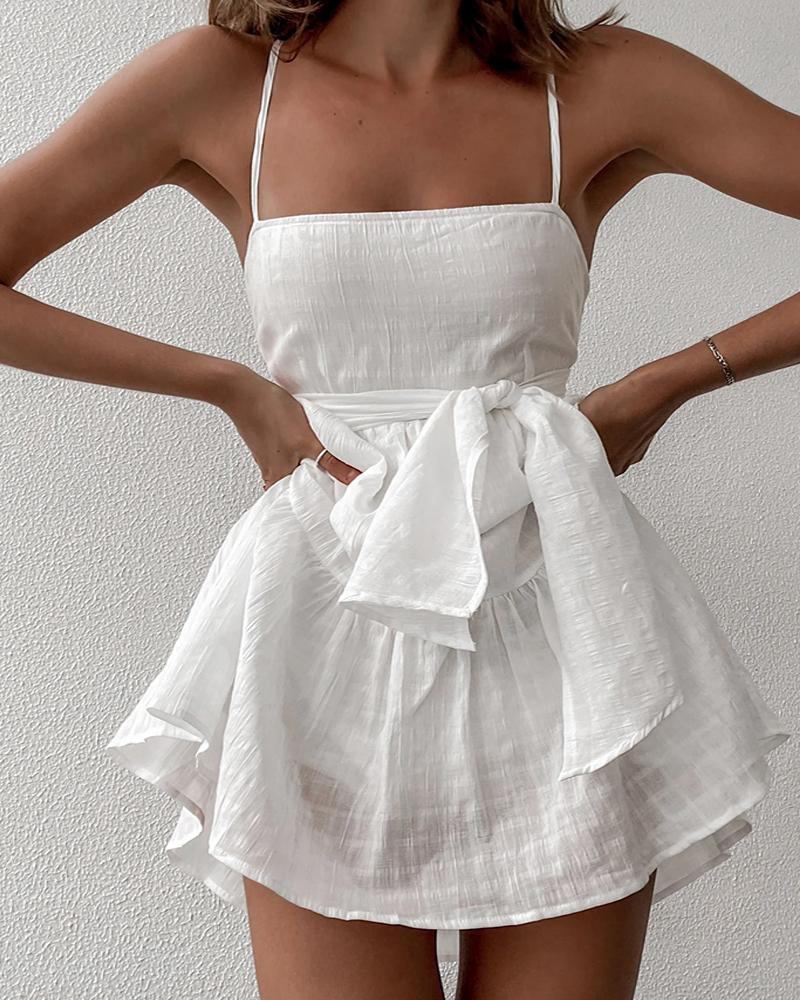 Spaghetti Strap Knotted Design Plain Casual Dress