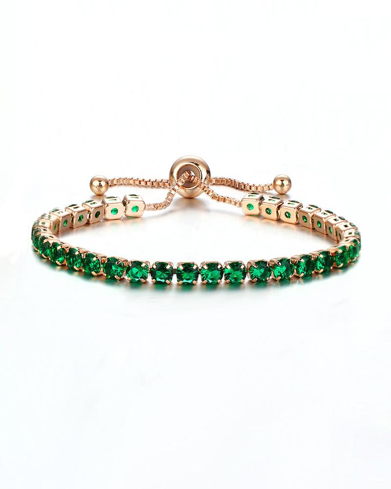 Rhinestone Adjustable Chain Bracelet thumbnail