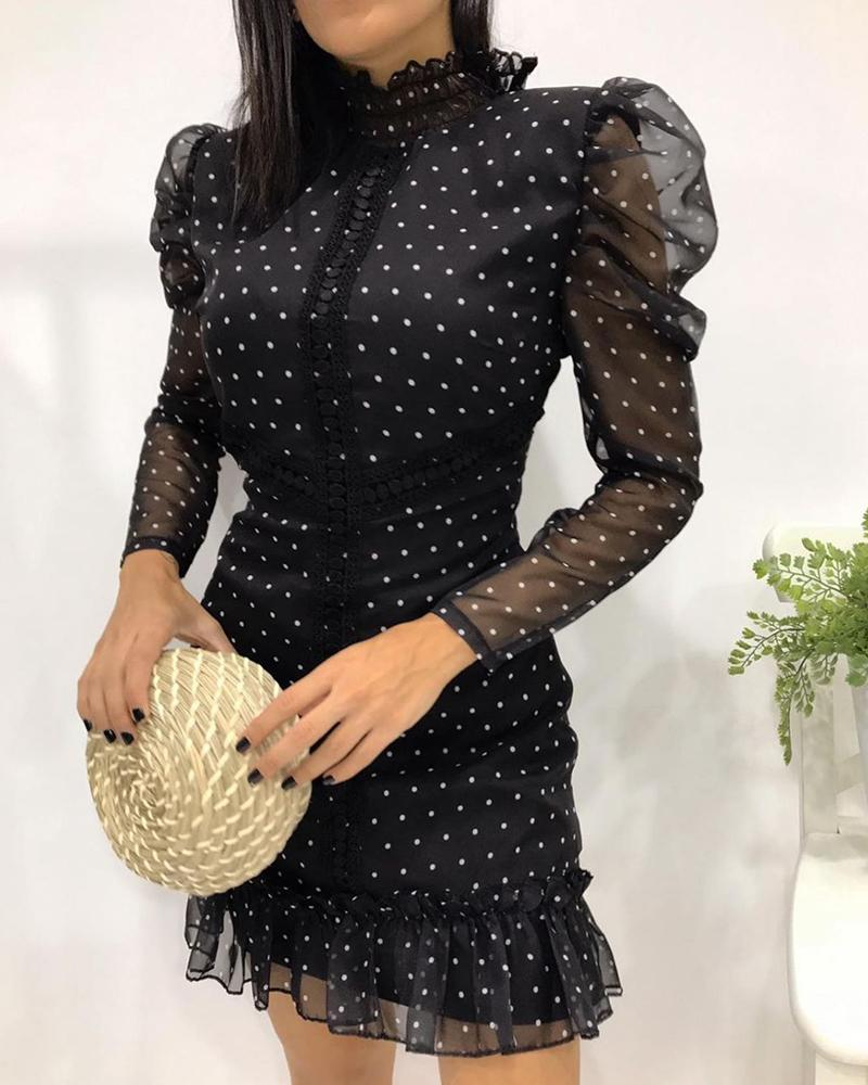 Dot Print Sheer Mesh Puffed Sleeve Ruched Dress thumbnail